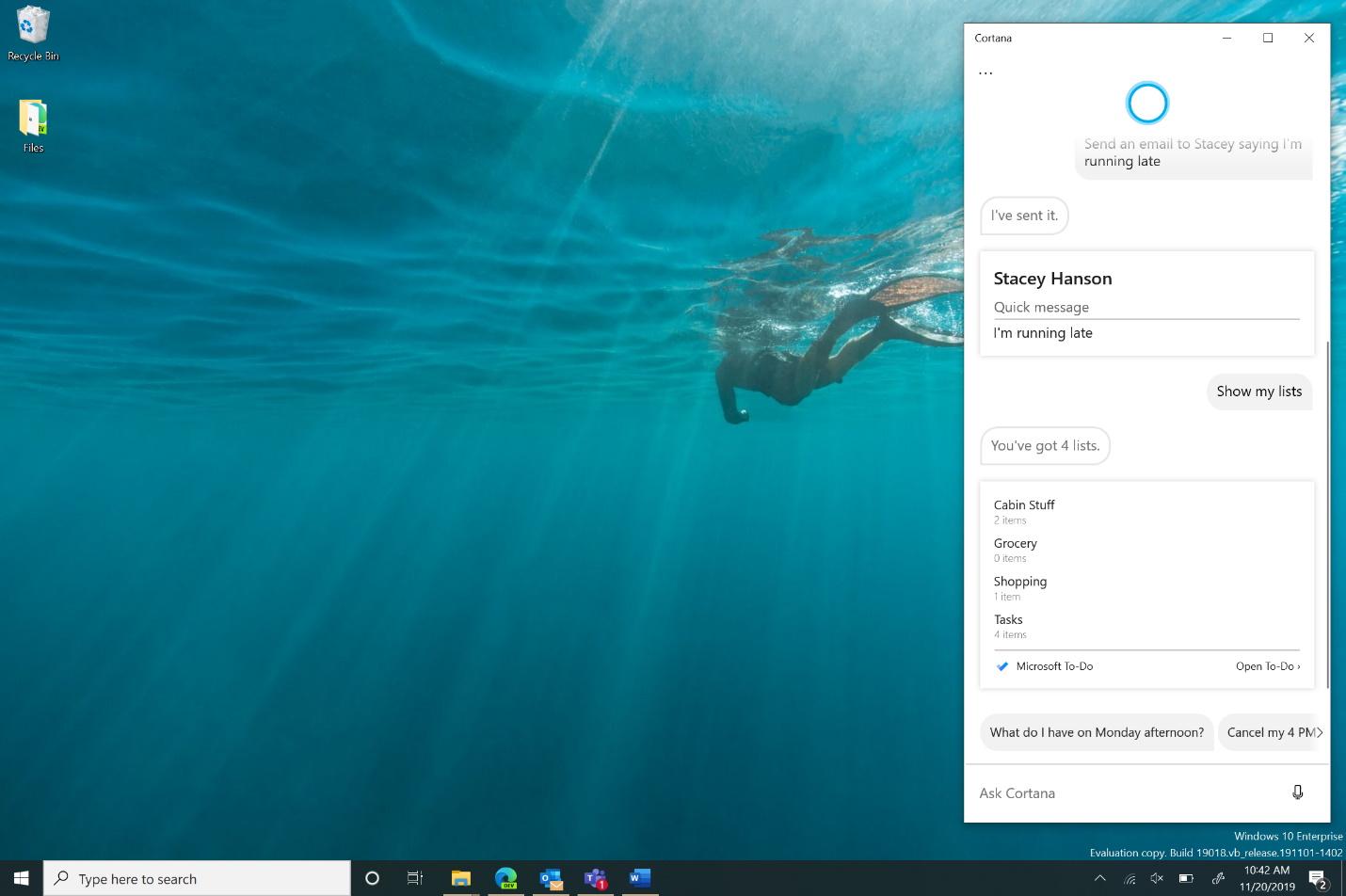 単体の独立したアプリとなった新しい「Cortana」(プレビュー版のもの)