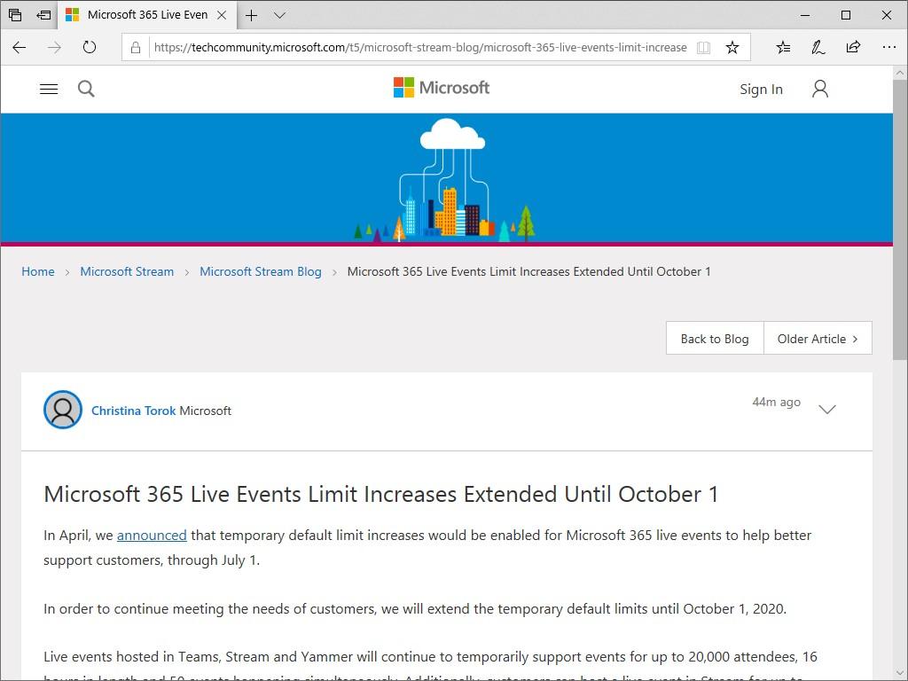 """Microsoft 365""のライブイベント機能で実施中のデフォルト上限値引き上げが10月1日までに延長"
