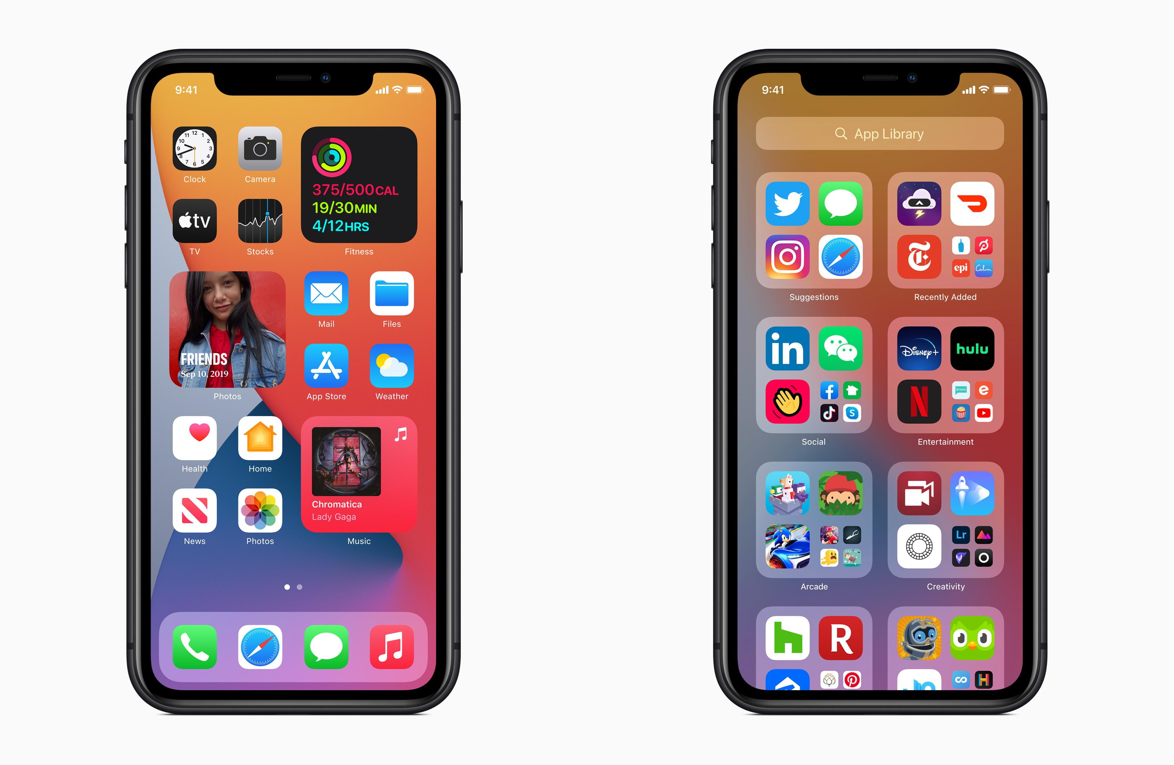"""「iOS 14」のホーム画面と""""App ライブラリ"""""""