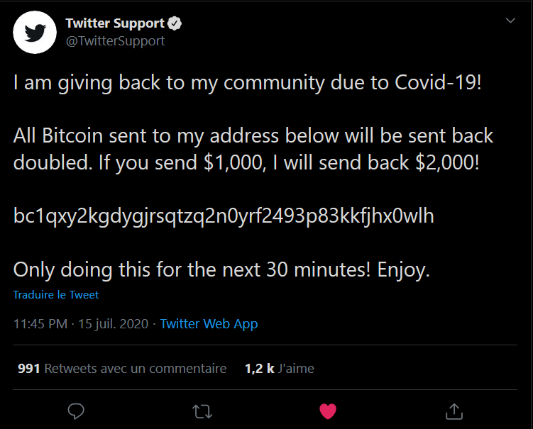 不正な投稿が行われた公式サポートアカウント(@TwitterSupport)