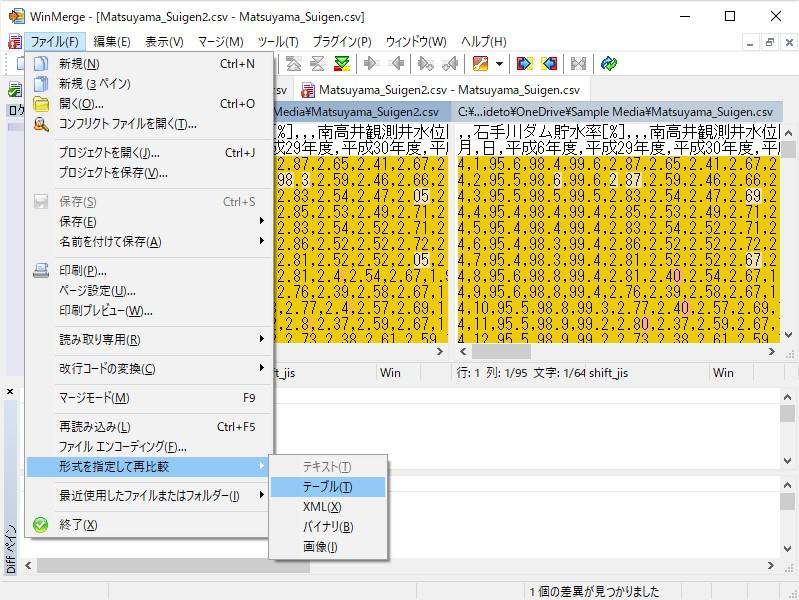[ファイル]-[形式を指定して再比較]-[テーブル]メニューで有効化