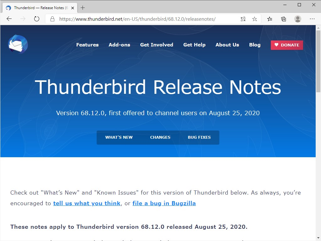 「Thunderbird」v68.12.0がリリース