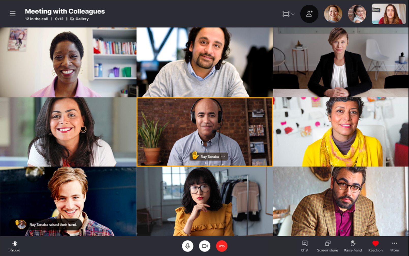 "「Skype」がミーティング中の""挙手""に対応"