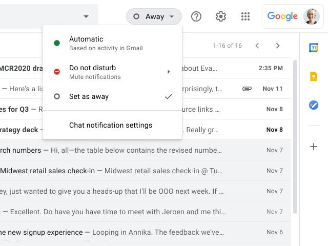"""""""Gmail""""からチャットを""""離席中""""に"""