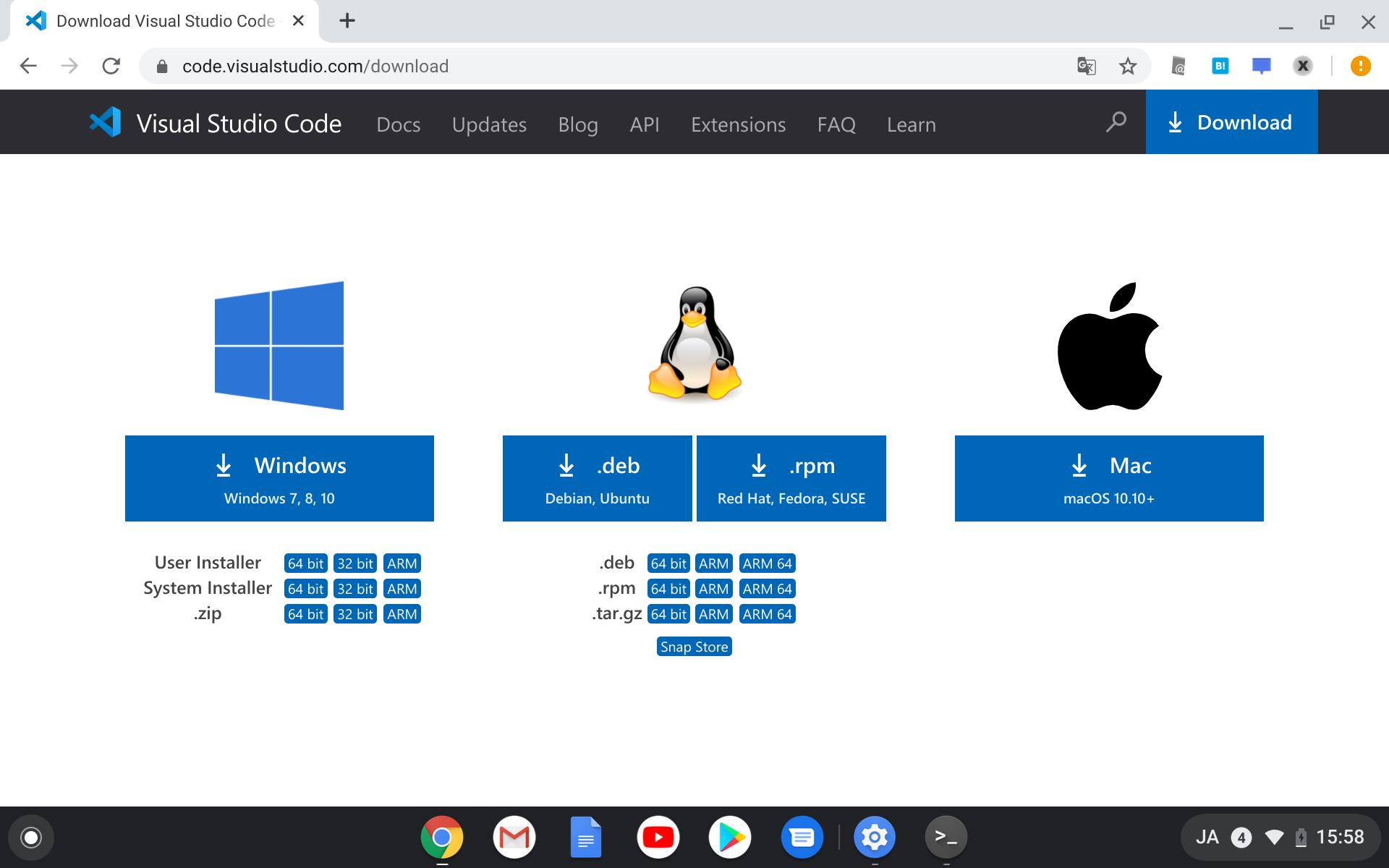 「Visual Studio Code」のダウンロードページ