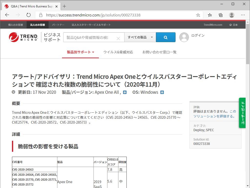 トレンドマイクロのサポートページ