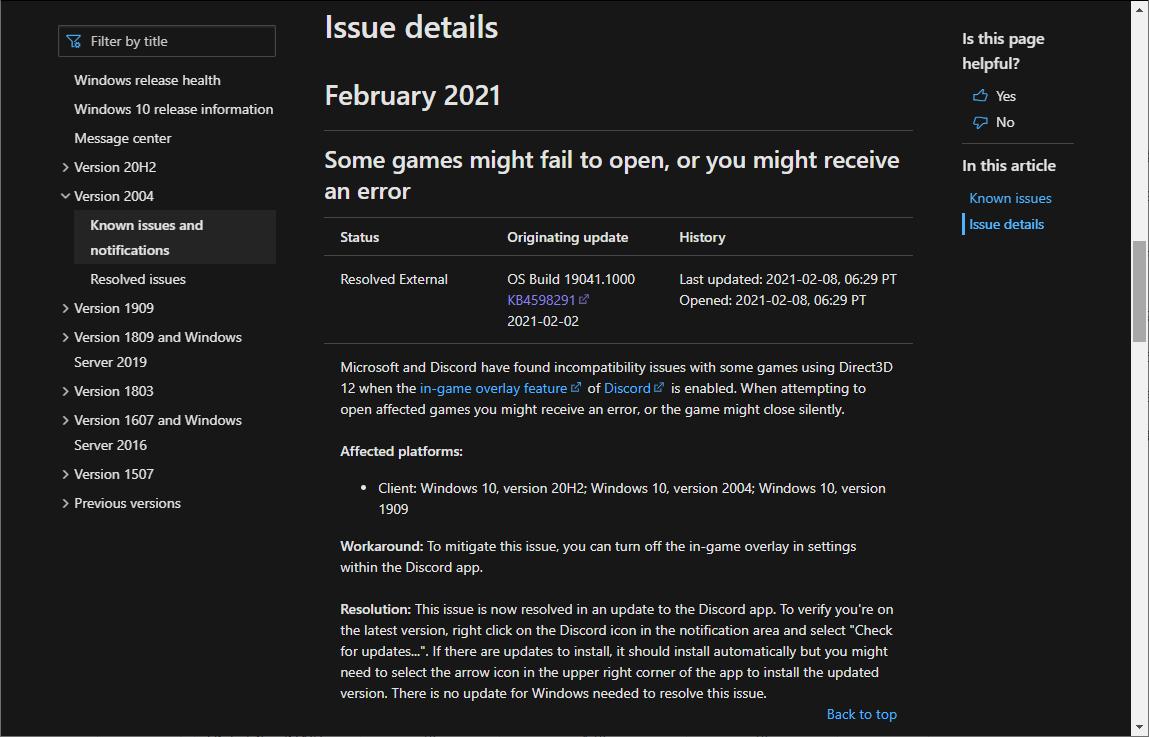 """""""Windows release health""""でのアナウンス"""