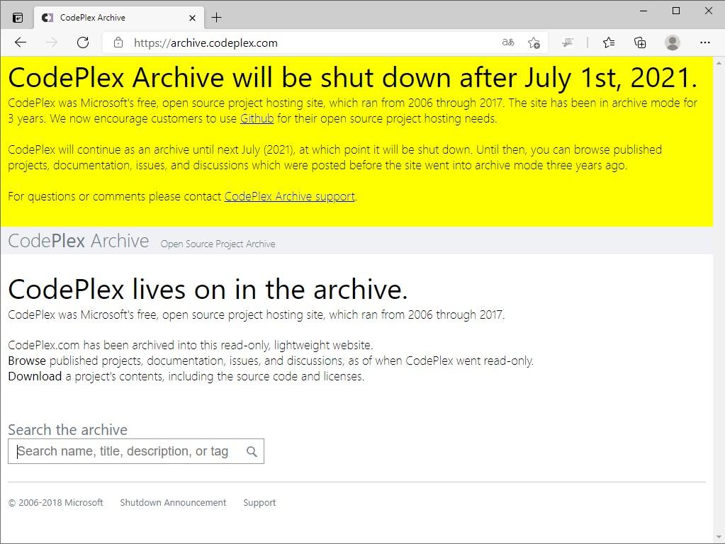 2021年7月1日以降、完全に閉鎖される「CodePlex」。「GitHub」などへ移行されなかったプロジェクトはこのまま消滅へ