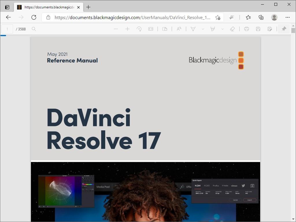 「DaVinci Resolve 17」に対応したリファレンスマニュアル(英語)。アプリ内からもアクセス可能