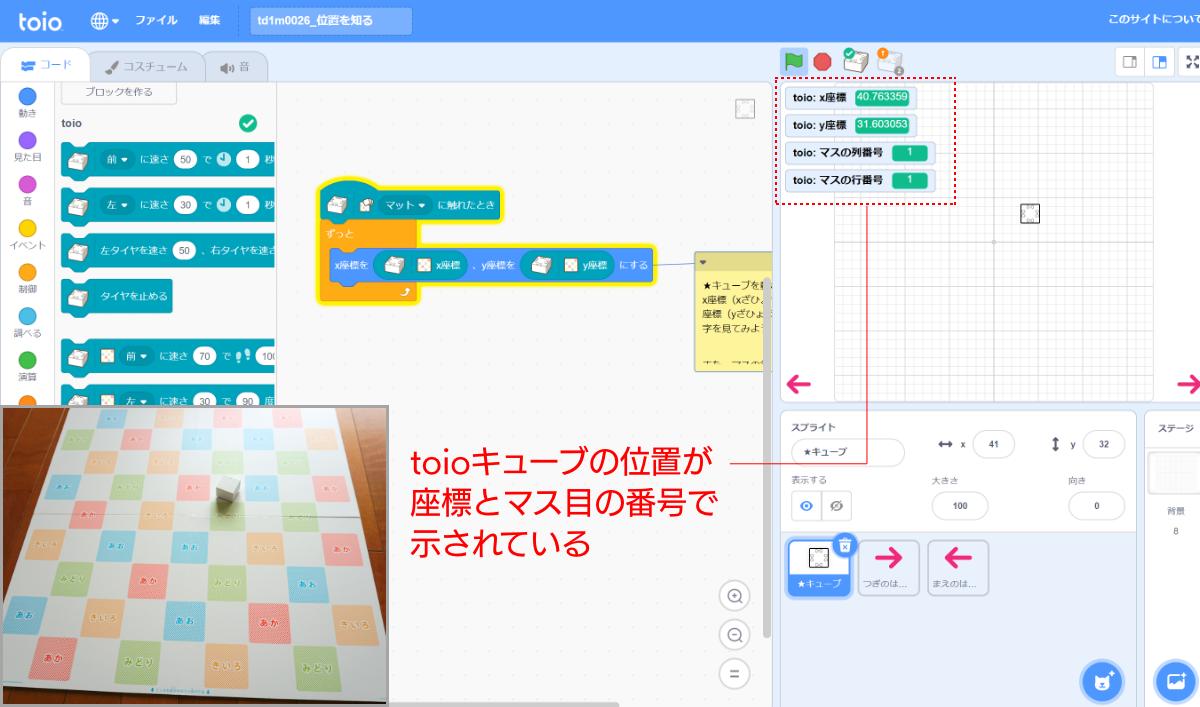このサンプルプログラムは、画面上で座標とマス目の番号を確認するためのもの。マス目は真ん中を中心に縦横-4から+4まで番号が振られている