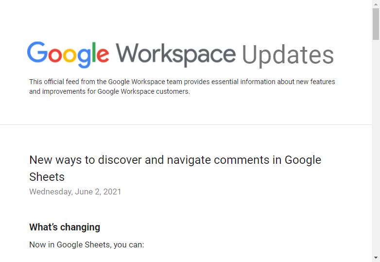 Google、「Google スプレッドシート」のコメント機能を強化