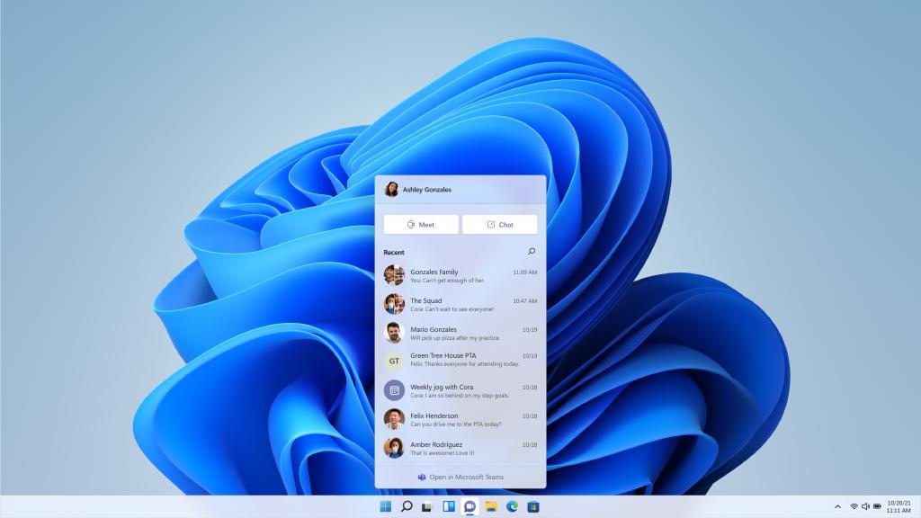 「Microsoft Teams」がチャットアプリとしてタスクバーに統合