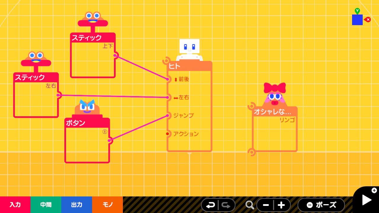 プログラム画面で「スティック」ノードンの上下と「ボタン」ノードンのBを加える