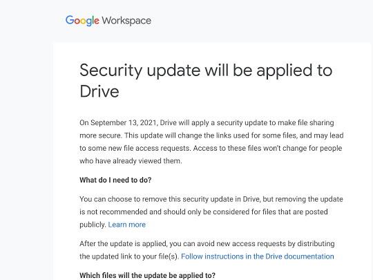 「Google ドライブ」のセキュリティアップデートにより共有URLに影響が出る場合の通知