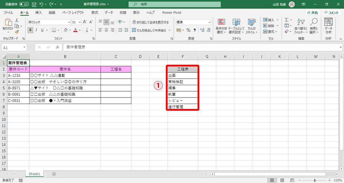 F列の「工程表」をテーブルに変換します