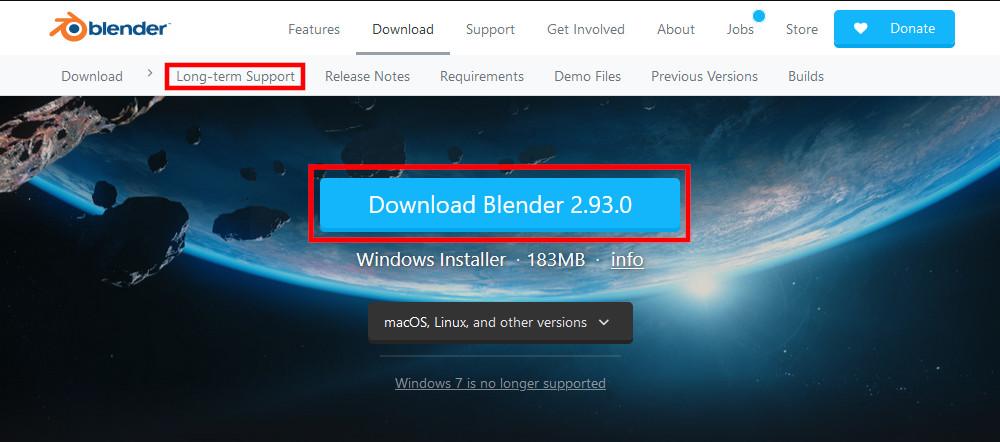 Blender Foundationのダウンロードページ