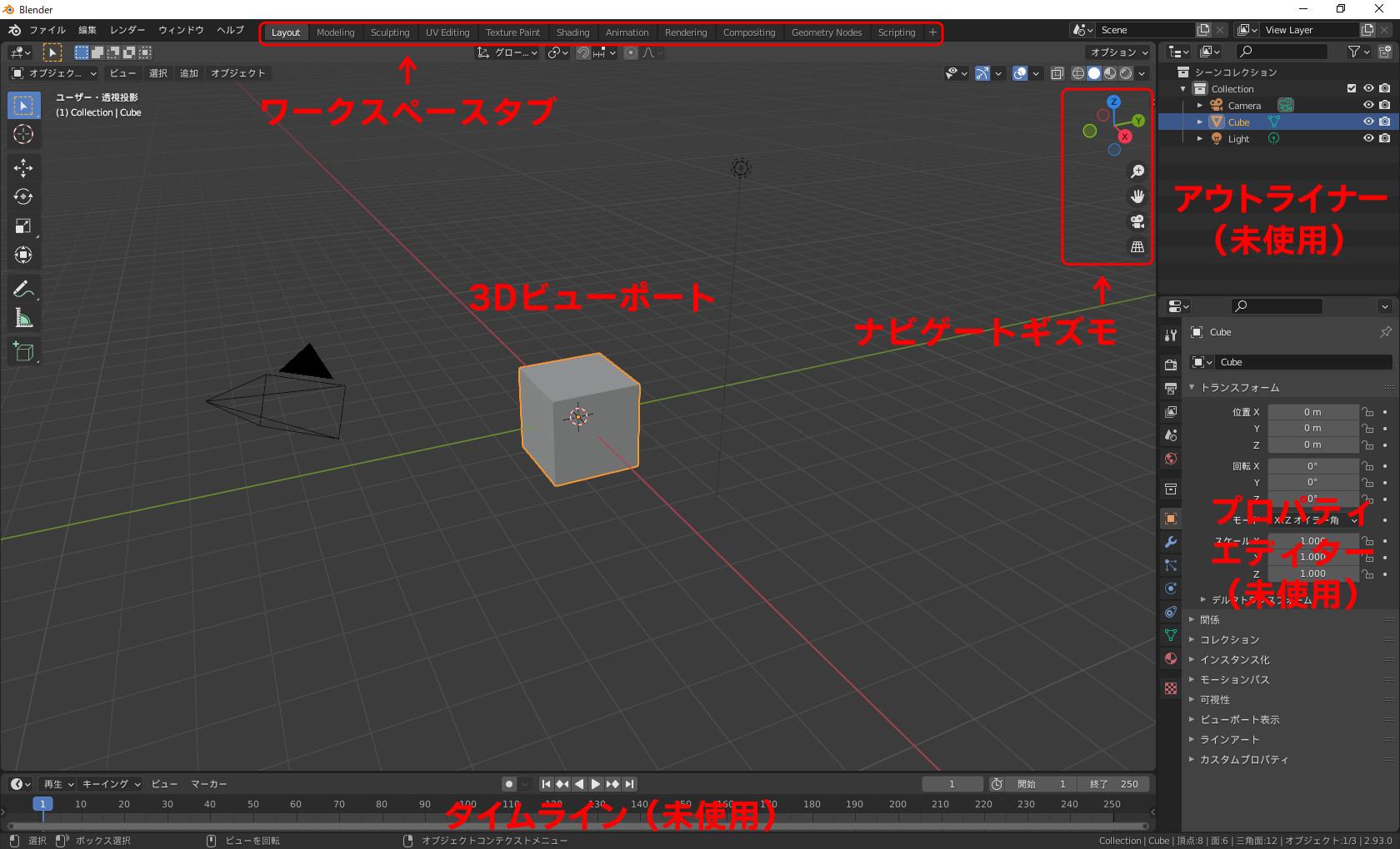 Blenderの初期スクリーンレイアウト