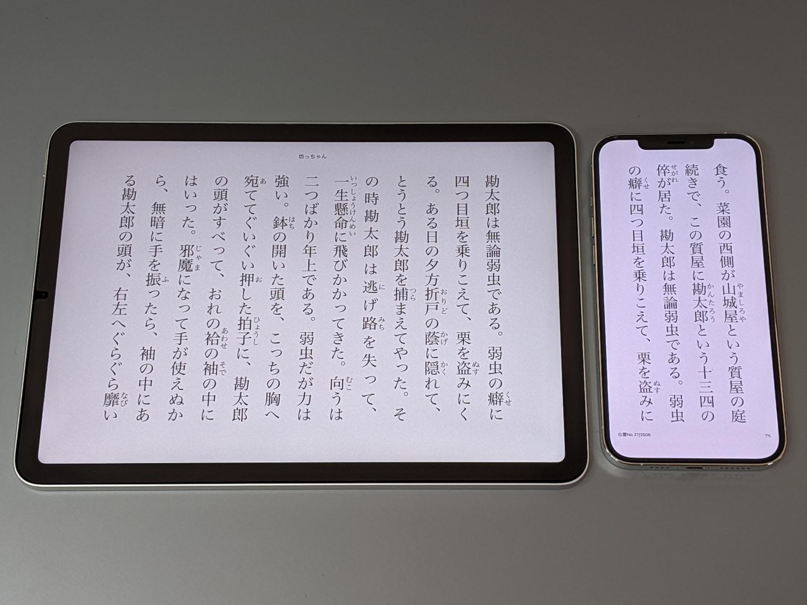 文字サイズを大きくするだけならば一般的なスマートフォン(右)でも可能だが、さすがに一画面あたりの文字数が少なすぎて読みづらい。できれば10型クラスのタブレット(左)を選びたいところ
