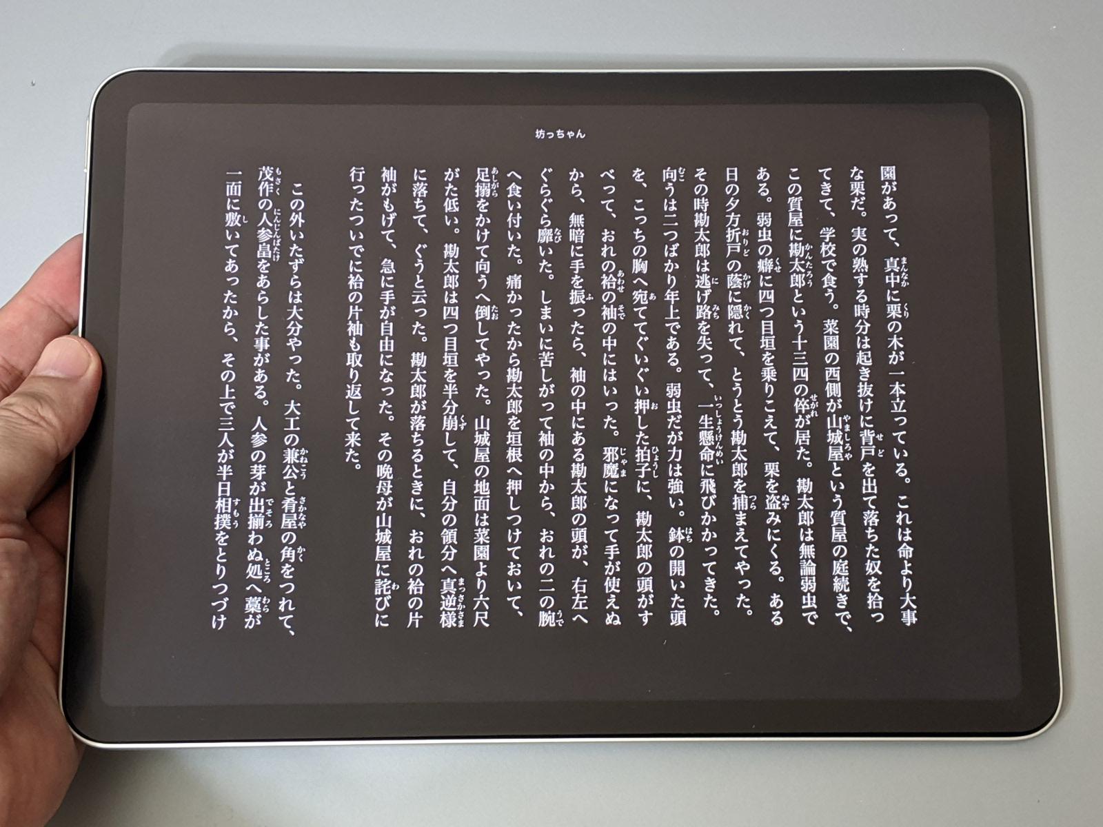 iPad AirのKindleアプリで、ページの色を黒に指定した状態。このほかセピア調などへの切り替えも可能。多くの電子書籍アプリでは、こうした背景色の切り替えに対応している