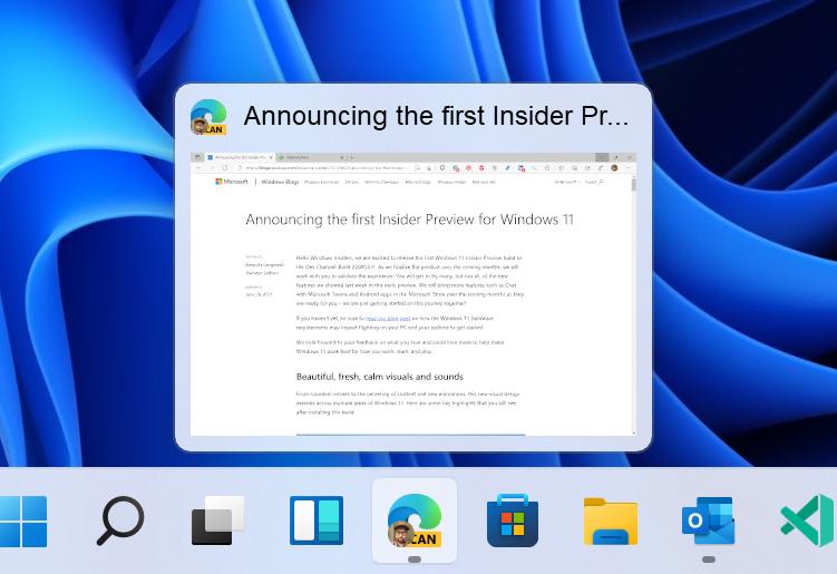 タスクバーのプレビューにもWindows 11のビジュアルデザインが反映