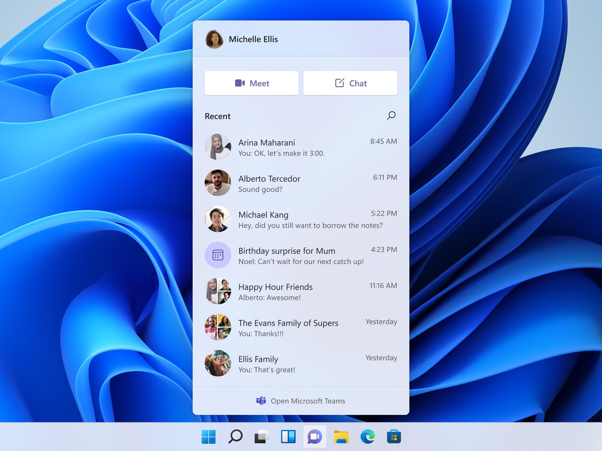 「Windows 11」に統合される予定のチャット機能