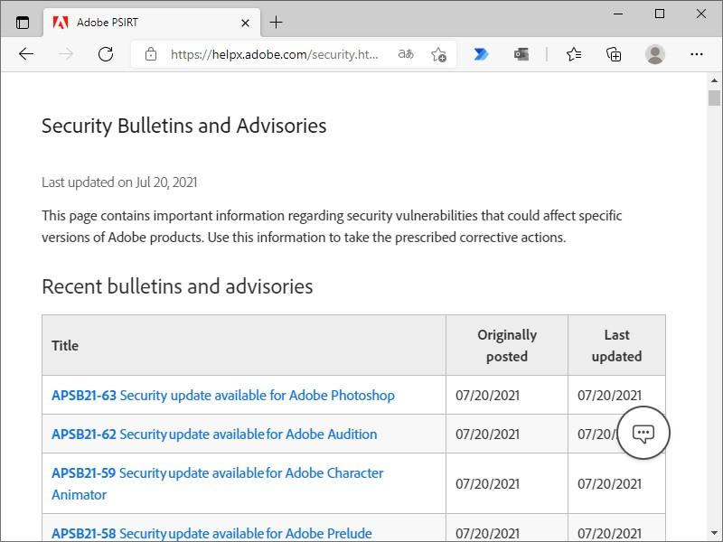 Adobeが7製品を対象に月例セキュリティアップデートをリリース