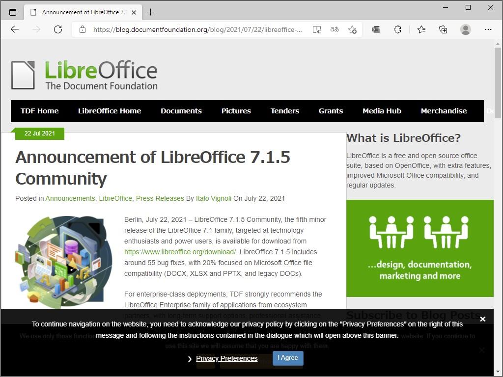 The Document Foundation、「LibreOffice 7.1.5 Community」を公開