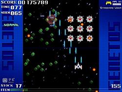 2面は敵が編隊を組んで攻撃してくる。自機はレベル2となり8方向移動とツインショットが可能に