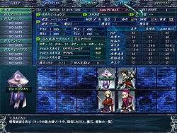 拠点ではステータスの確認、武器の変更、戦闘におけるキャラクター配置の初期設定などができる