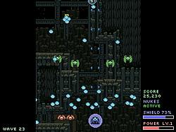 青い敵弾をバリアで防ぐとショットが強化される
