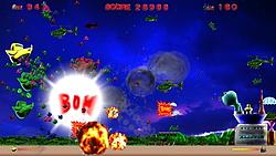 敵か敵基地の全滅を目指す固定画面型のシューティングゲーム