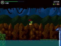 上にシールドを展開すると、フワフワと長距離ジャンプが可能となる