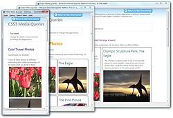 """""""Media Queries""""のデモ。IE9 PP版のウィンドウの幅を変化させると、その幅に最適化されたデザインへリアルタイムで変化していく"""