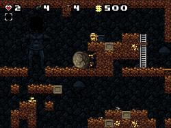 金の像を取ると巨大な岩が転がってくる罠が発動。高い場所に逃げよう
