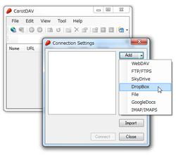 "「CarotDAV」の接続画面から""Dropbox""アカウントを追加"