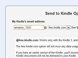 """Device Email""を拡張機能のオプション画面にある""My Kindles email address""欄へ入力。ドメイン部分を""free.kindle.com""へと指定するのを忘れずに"