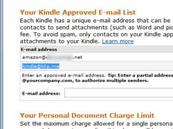 """""""Amazon.com""""にある""""Kindle""""の管理ページを開き、""""kindle@klip.me""""というメールアドレスを受信許可リストへ追加"""