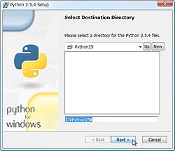 「Python」v2.5.4をインストール