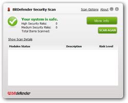 ウイルススキャン機能のほかにも、簡単なセキュリティチェックが行える