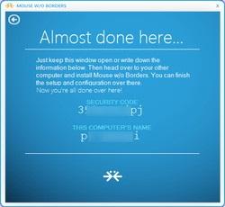 """起動後最初に現れるダイアログで[No]ボタンを選択すると、親PCの名前と""""Security Key""""が表示される"""
