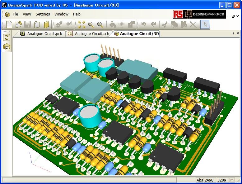 プリント基板の図面を3Dモデルで描画
