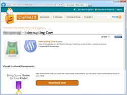 """""""Interrupting Cow(ブレークしてばかりの臆病者)""""バッジを獲得。このページはユーザーごとに作成され、FacebookやTwitterで共有できる"""
