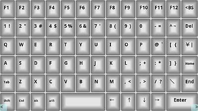 画面に表示されるキーをタッチして、PC上で文字入力ができる。日本語入力も可能
