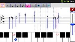 画面右端のスライドバーで音符ごとの音量を変更