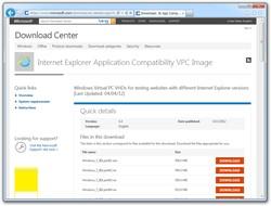 「Internet Explorer Application Compatibility VPC Image」の配布ページ
