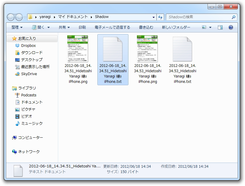 当該端末の情報を、スクリーンショットとともにテキストファイルとして保存