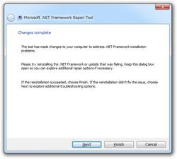 5. この画面でもう一度.NET Frameworkのインストール・アップデートを実行しよう。成功したら[Finish]ボタンを、失敗したら[Next]ボタンを押す