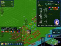 マスターの出撃指示があると戦場へ。緑の輪がついているのが自部隊。指示は画面左下のアイコンで行う