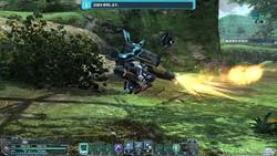"""ランチャーは射撃中に移動できない弱点をもつが、ランチャーにまたがって射撃の反動で低空を飛ぶPA""""ロデオドライブ""""を利用できる"""