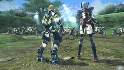 """平和な""""惑星ナベリウス""""でプレイヤー(右)と相棒の""""アフィン""""(左)が、アークスの最終試験を受けるところから物語は始まる"""
